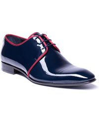 Jared Lang - Men's Patent Leather Cap-toe Dress Shoes Navy - Lyst