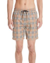 6a92e8c38a12 Lyst - Burberry  gowers  Check Swim Trunks in Gray for Men