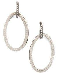 Armenta - Old World Midnight Frontal Hoop Diamond Earrings - Lyst