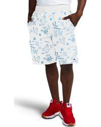 215f2fec Champion - Reverse Weave Scribble Print Fleece Shorts - Lyst