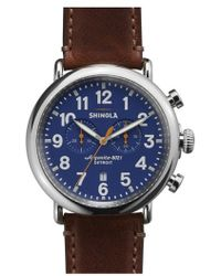Shinola - The Runwell Chrono Leather Strap Watch - Lyst