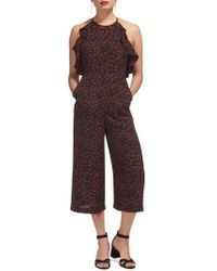 Whistles - Sonia Frill Lips Print Crop Jumpsuit - Lyst