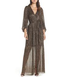 Eliza J - Backless Metallic Maxi Wrap Dress - Lyst