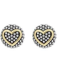 Lagos - 'caviar' Heart Stud Earrings - Lyst