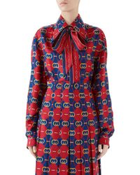 3e3a919864260 Lyst - Gucci Floral-print Crepe De Chine Shirt in Red