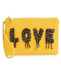 Sondra Roberts - Love Embellished Faux Leather Wristlet - Lyst