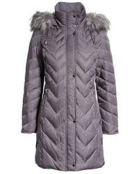 Marc New York - Matte Satin Chevron Faux Fur Trim Coat - Lyst