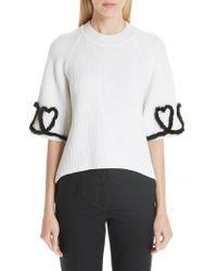 Fendi - Scribble Heart Sweater With Genuine Mink Fur Trim - Lyst