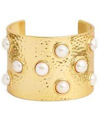 Karine Sultan | Hammered Imitation Pearl Cuff | Lyst