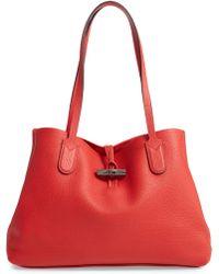 Lyst - Longchamp Shop-it Medium Patent Leather Tote Bag in Black fc1715cd21522