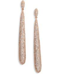 Nina - Skinny Teardrop Pave Earrings - Lyst