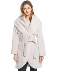 Tahari - T Wool Blend Belted Wrap Coat - Lyst