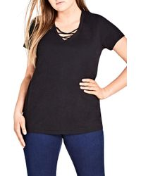 City Chic - Detail V-neck Tee - Lyst