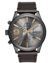 DIESEL - Diesel Rasp Chronograph Leather Strap Watch - Lyst