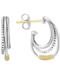 Lagos - Caviar 'superfine' Two-tone Station Hoop Earrings - Lyst