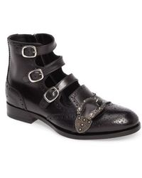 5fd828a7cfed Lyst - Gucci Black Guccissima Rubberized Leather Lace Up Boots in ...
