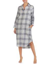 Lauren by Ralph Lauren - Plaid Flannel Sleep Shirt - Lyst