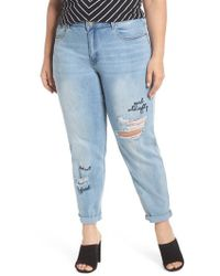 Lost Ink - Girl Almighty Slim Boyfriend Jeans - Lyst