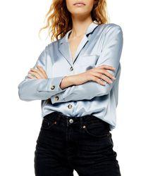 TOPSHOP Satin Button-up Shirt - Blue