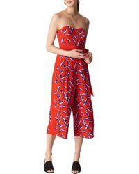 Whistles   Lyza Tulip Print Strapless Silk Jumpsuit   Lyst