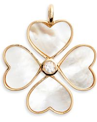 Asha - Mother-of-pearl Heart Clover Charm - Lyst