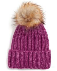 1584de2edd018 Sole Society - Faux Fur Pom Knit Beanie - Purple - Lyst