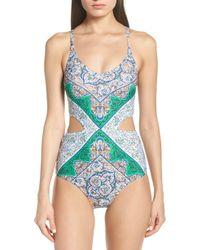 3a5b1668305b1 Tory Burch - Cutout Printed One Piece Swimsuit - Lyst