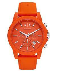 Armani Exchange - Chronograph Silicone Strap Watch - Lyst
