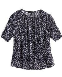 J.Crew - J.crew Ruched Sleeve Sparkle Floral Top - Lyst