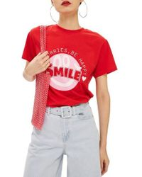 TOPSHOP - Smile Graphic Tee - Lyst