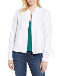 Kenneth Cole - Tie Sleeve Bomber Jacket - Lyst