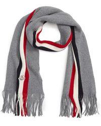 Moncler - Sciarpa Logo Stripe Wool Scarf - Lyst