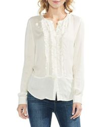 Vince Camuto - Ruffle Front Button Up Top - Lyst