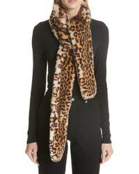 Shrimps - Maeve Leopard Print Faux Fur Scarf - Lyst