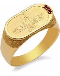 Congés - Old School Ruby Scarab Ring - Lyst