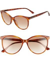 a5fbd8b9e67e2 Gucci - 57mm Cat Eye Sunglasses - Blonde Havana  Borwn Gradient - Lyst