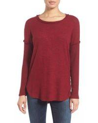 Bobeau - Rib Long Sleeve Fuzzy Sweatshirt - Lyst