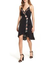 Band Of Gypsies - Floral Embroidered Faux Wrap Dress - Lyst