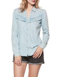 PAIGE - Layda Ruffle Western Chambray Shirt - Lyst