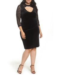 Marina - Velvet & Glitter Lace Sheath Dress - Lyst
