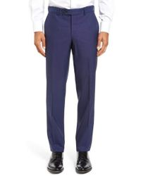 Ted Baker | Jefferson Flat Front Solid Wool Trousers | Lyst
