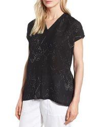 Eileen Fisher - V-neck Silk Blend Top - Lyst