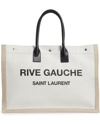 Saint Laurent - Noe Rive Gauche Logo Linen Tote - Lyst