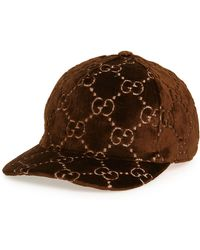 Lyst - Gucci GG Supreme Velvet Snapback Hat in Brown - Save 42% 8968306a1a8d