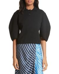 Tibi - Sculpted Sleeve Wool Blend Polo Sweater - Lyst