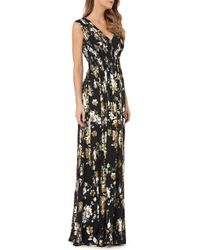 Kay Unger - Smocked Foil Chiffon Gown - Lyst