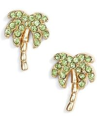 Kate Spade - California Dreaming Pave Palm Stud Earrings - Lyst
