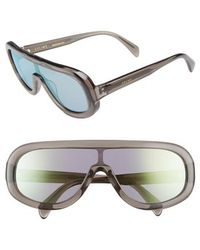 Céline - Flat Top Shield Sunglasses - Transparent Grey/ Gold Mirror - Lyst