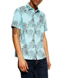 6b1b8e975afd TOPMAN Blue Floral Print Shirt in Blue for Men - Lyst