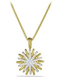 David Yurman - 'starburst' Small Pendant With Diamonds In Gold On Chain - Lyst